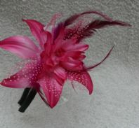 Pink Spotted Flower Fascinator on a Headband